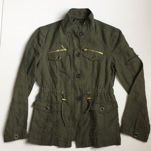 Jackets & Blazers - INC Linen Army Green Military Jacket